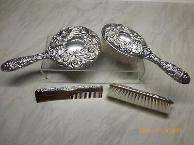SILVER DRESSING TABLE SET BRUSH, MIRROR ETC. 'BROADWAY & Co' BIRMINGHAM 1982
