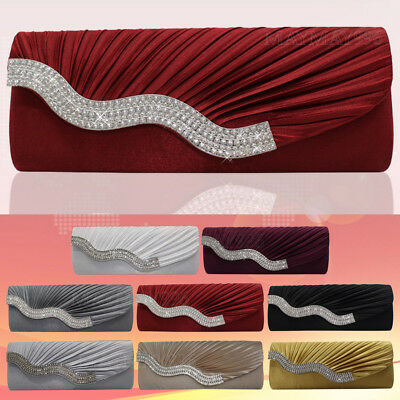 Women's Fashion Satin Crystal Shell Shape Pleated Bag Evening Party Ladies Purse