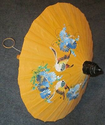 Vintage Thailand parasol. Traditional design with hand-painted birds and flowers