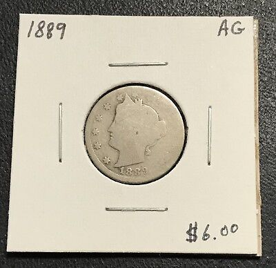 1889-P U.s. Liberty V Nickel ~ About Good Condition! $2.95 Max Shipping! C273