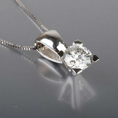 0.8 Ct Certified Solitaire Round Diamond Necklace 14K White Gold Pendant Nib
