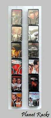 Planet Racks 6 Pocket DVD Movie Wall Display - Black or White - Made In USA
