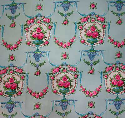 vintage French 1950s Dorothee pink roses print cotton interiors fabric length