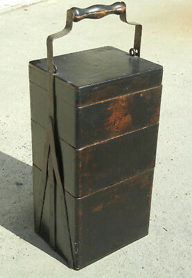Antique Chinese Lockable Stacking Wooden Basket Bucket w Iron and Black Lacquer