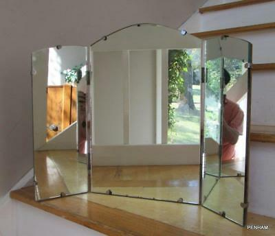 Maf#25: Vintage/antique Trifold Beveled Edge Wall Or Table Top Mirror