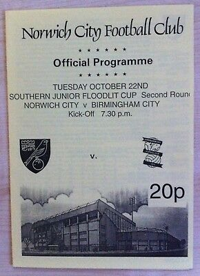 Norwich City Youth v Birmingham Youth - SJ Floodlit Cup Rd 2 - 22nd Oct 1996