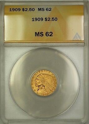1909 $2.50 Indian Gold Quarter Eagle ANACS MS-62 (Better Coin) DJ