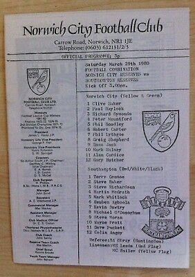 Norwich Reserves v Southampton Res & Norwich Youth v Millwall Youth - 29 Mar 80