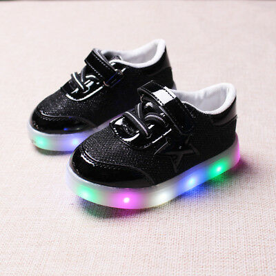 Kids Boys Girls LED Shoes Light Up Luminous Baby Sport Trainers Star Sneakers