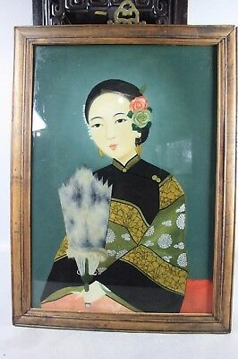 20th C. Chinese Reverse Glass Painted Lady