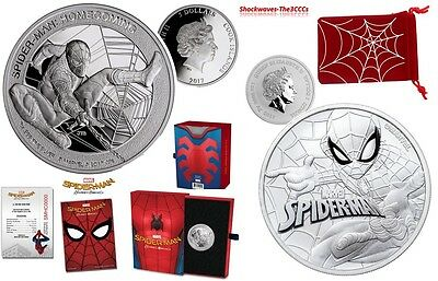 2017 Silver SPIDER-MAN Homecoming Coin & SPIDER-MAN Marvel Series Silver Coin