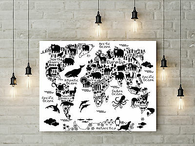 Monochrome Animals World Map Art Nursery Kids Room Wall Art Print