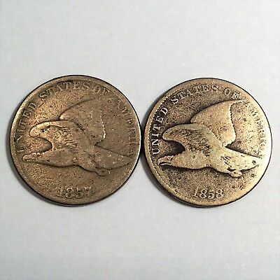 (2) Flying Eagle Cents 1857 and 1858 Small Letters