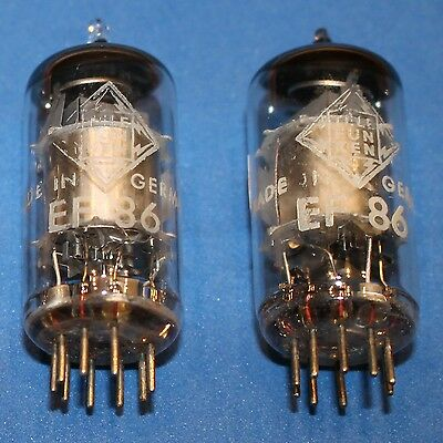 2 x EF86 Telefunken <>, silver plates, tested good