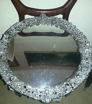 """Large heavy """"cast border""""  Joseph rodgers&sons Solid silver salver"""