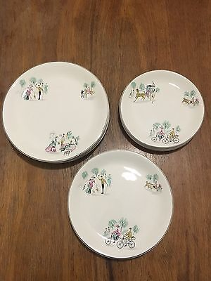 "Alfred Meakin Vintage Kitsch ""The Gay Ninety's"" 6 Dinner Entree And Side Plates"