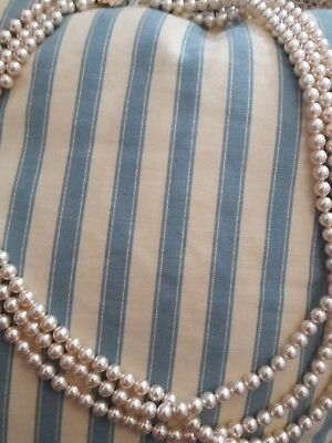 Vintage pearl necklace three strand gold clasp