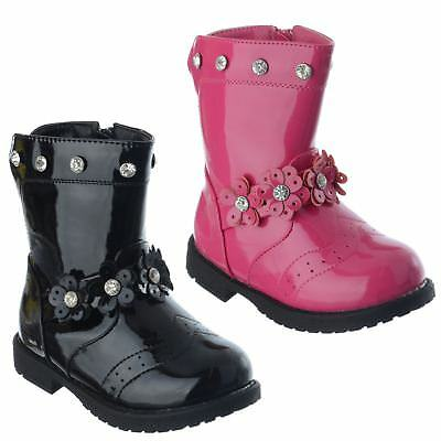 Girls Infants Toddler Flower Diamante Warm Fur Lined New Zip Up Boots Shoes Size