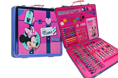 Disney Minnie Mouse Art Case Kids Creative Set Tin Metal Hard Case Girls Toy New
