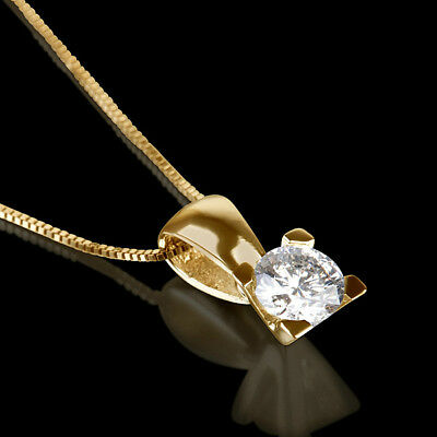 1 1/2 Carat Solitaire Round Diamond Necklace 18K Yellow Gold Promise Pendant