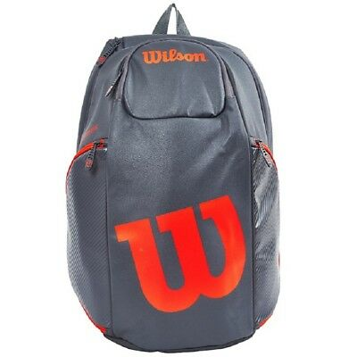 Wilson Burn Backpack Tennis Racquet Racket Bag Grey Orange WRZ844796 Pockets