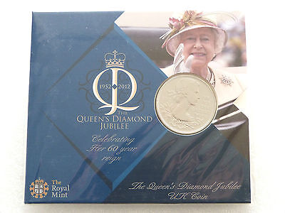 2012 Great Britain Queens Diamond Jubilee £5 Five Pound Coin Unc Pack Sealed