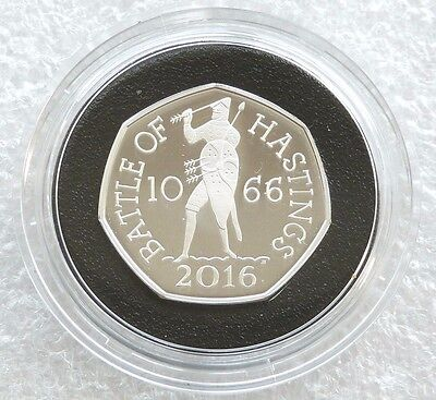 2016 British Battle of Hastings 50p Fifty Pence Silver Proof Coin Box Coa