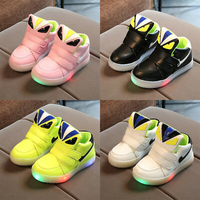 LED Baby Toddler Shoes Kids Boys Girls Light Up Sports Casual Running Sneakers