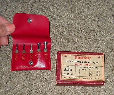 Starrett Hole Gages #830 Short Type with Case and Box