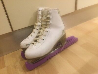 used girls cute ice skates, white and gold uk size 3