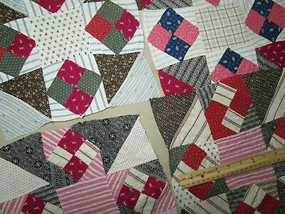 "Antique Quilt Blocks Hand sewn 4pc large blocks 11 1/2"" Re purpose/cutter- Read"