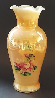 Orange & white glass vintage Art Deco antique hand painted vase