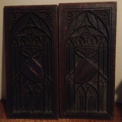 2 Beautiful Antique Salvaged Gothic Church Carved Wood Panels Crown Shield Xt7j
