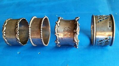 4 Vitage Sterling Silver Napkin Rings