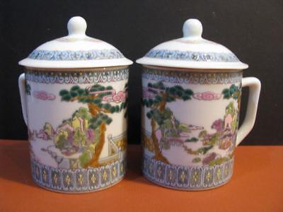 Pair Chinese Imports Covered Tea Coffee Mugs