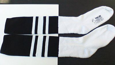TWIN CITY-VINTAGE 80s NOS MENS WHITE/BLACK OFFICIAL FOOTBALL/SOCCER SOCKS 8.5-11