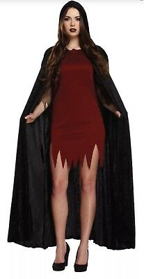 Deluxe Long Velvet Cloak Vampire Dracula Halloween Cape  Fancy Dress Costume UK