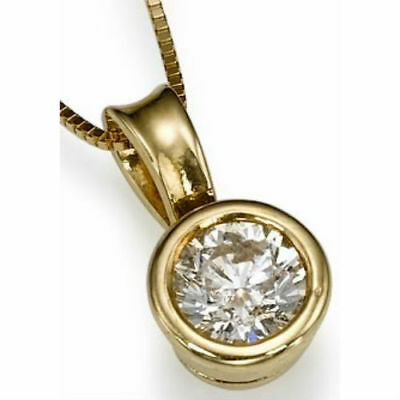 0.60 Ct Solitaire Round Cut Diamond Necklace 14 Kt Yellow Gold Betrothal Pendant