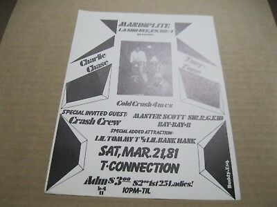 Rare Bronx Hip Hop Flyer T-Connection Cold Crush 4 M.c.'s-Crash Crew.buddy Esq