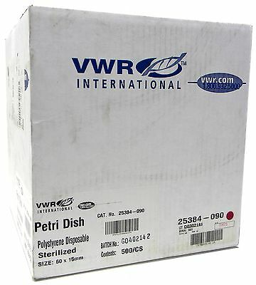 NEW VWR 60 x 15 mm Disposable Petri Dishes Case of 500 Sealed Box P/N 25384-090