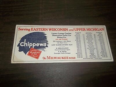 Vintage Chippewa Railroad Ink Blotter Chicago Milwaukee St. Paul Pacific Times!