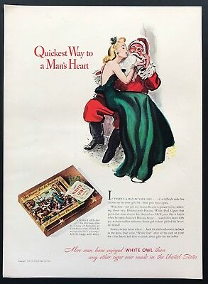 1940 Vintage Ad WHITE OWL Cigar Santa Clause Woman Green Dress Illustration