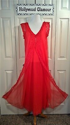 VINTAGE Rare Style Lovely Long Red Flowing Double Fabric Sheer Lace Nightgown M