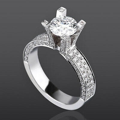 Vvs 3.25 Carat Certified Round W Side Stones Diamond 14K White Gold Promise Ring