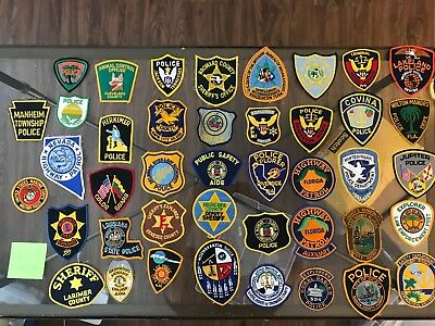 Lot Of 42 Assorted State Police Patches Florida Dakota Miami Cleveland Etc