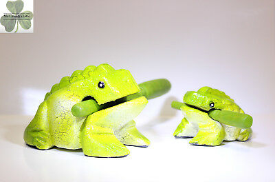 "2 Frogs, Mama & Baby, Guiro Rasp, Wooden Musical Toy, Lime Green 2"" and 4"""