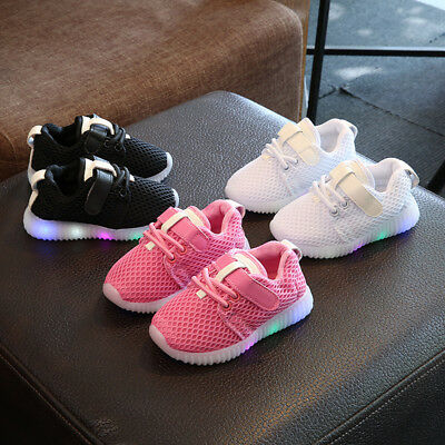 Baby Kids Luminous Sneakers LED Light Up  Boys Girls Sport Trainer Running Shoes