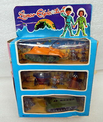 1960s Miniature Lunar Exploration Plastic Playset Spaceship Spacemen Window Box