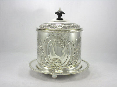 Antique English Silver Plate on Copper Hand Chased Footed Biscuit Barrel Box