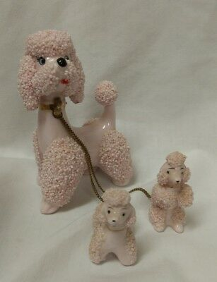 Vintage Set of three pink Spaghetti poodles  Mom and two babies WITH CHAIN  NICE